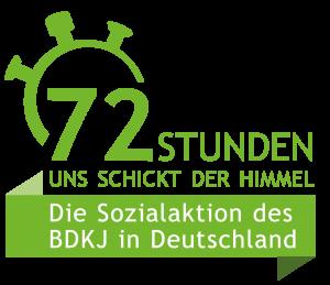 Logo der 72-Stunden-Aktion. Motto: Uns schickt der Himmel. Die Sozialaktion des BDKJ in Deutschland